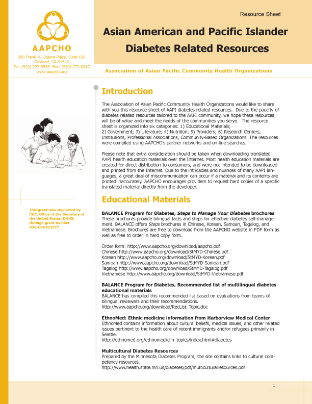 Asian American and Pacific Islander Diabetes Resources   AAPCHO